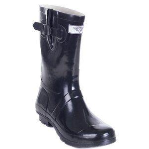 "Women Mid-Calf 11"" Black Rubber Rain Boots"